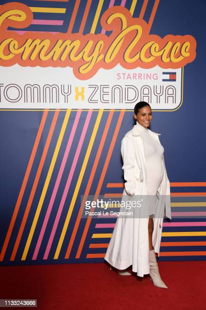 Tina Kunakey attends the Tommy Hilfiger TOMMYNOW Spring 2019 TommyXZendaya Premieres at Theatre des ChampsElysees on March 02 2019 in Paris France