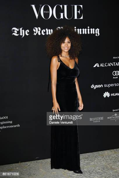 Tina Kunakey attends theVogue Italia 'The New Beginning' Party during Milan Fashion Week Spring/Summer 2018 on September 22 2017 in Milan Italy