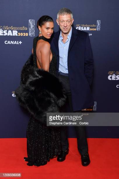 Tina Kunakey Cassel and Vincent Cassel arrive at the Cesar Film Awards 2020 Ceremony At Salle Pleyel In Paris on February 28, 2020 in Paris, France.