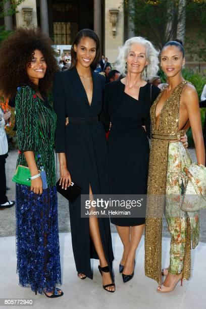 Tina Kunakey Cindy Bruna Catherine Loewe Noemie Lenoir attends the amfAR Paris Dinner 2017 at Le Petit Palais on July 2 2017 in Paris FranceÊ