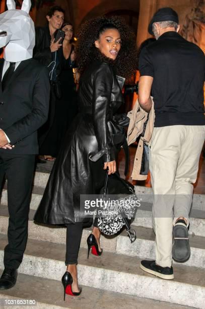 Tina Kunakey is seen arriving at the Longchamp 70th Anniversary Celebration at Opera Garnier on September 11 2018 in Paris France