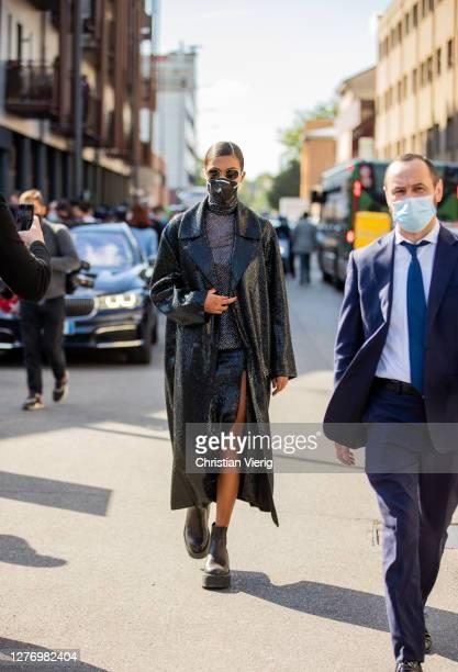 Tina Kunakey is seen outside Valentino during the Milan Women's Fashion Week on September 27, 2020 in Milan, Italy.