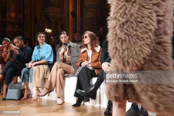 Tina Kunakey, Naomi Ackie, Shailene Woodley, Caitriona Balfe and Isabelle Huppert attend the Stella McCartney show as part of the Paris Fashion Week...