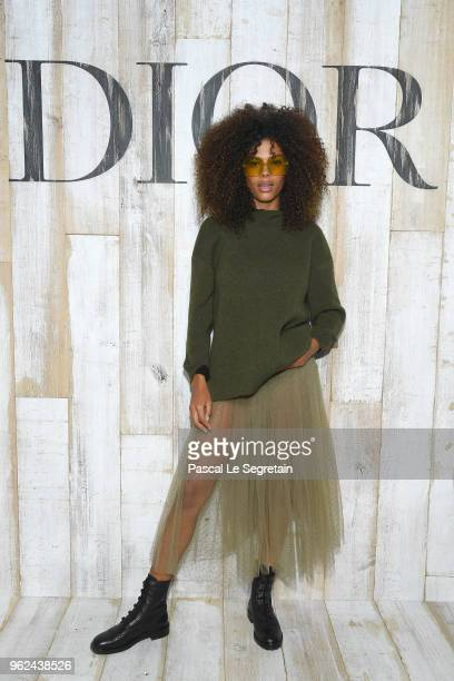 Tina Kunakey poses at a photocall during Christian Dior Couture S/S19 Cruise Collection on May 25 2018 in Chantilly France