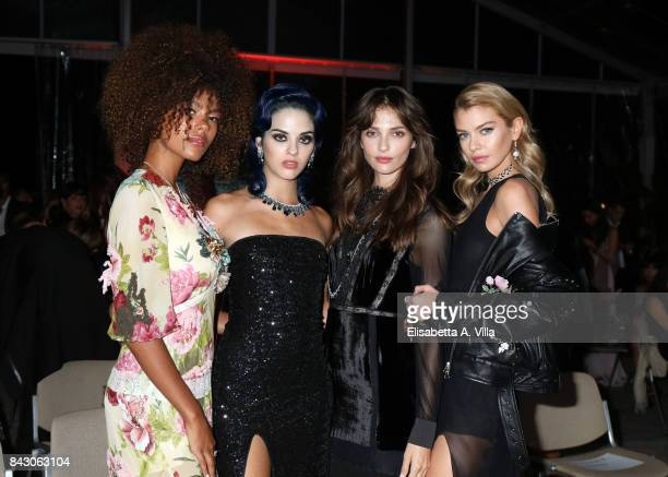 Tina Kunakey Sita Abellan Annabelle Belmondo and Stella Maxwell attend the Twinset Party during the 74th Venice Film Festival at Excelsior Hotel on...
