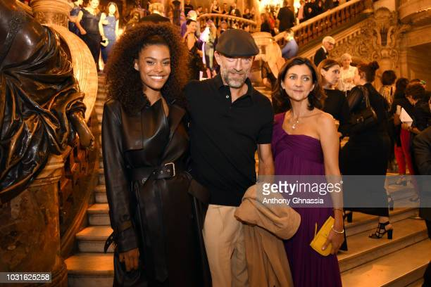 Tina Kunakey Vincent Cassel and Sophie Delafontaine attend Longchamp 70th Anniversary Celebration at Opera Garnier on September 11 2018 in Paris...