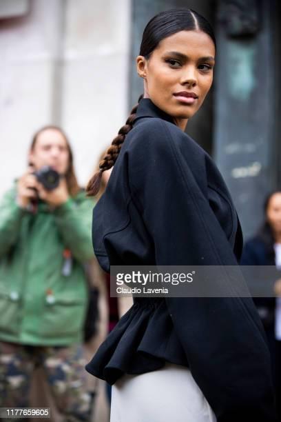 Tina Kunakey wearing a black blazer is seen outside the Mugler show during Paris Fashion Week Womenswear Spring Summer 2020 on September 25 2019 in...