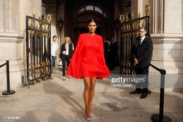 Tina Kunakey wearing Stella McCartney outside Stella McCartney during Paris Fashion Week Womenswear Spring Summer 2020 on September 30 2019 in Paris...