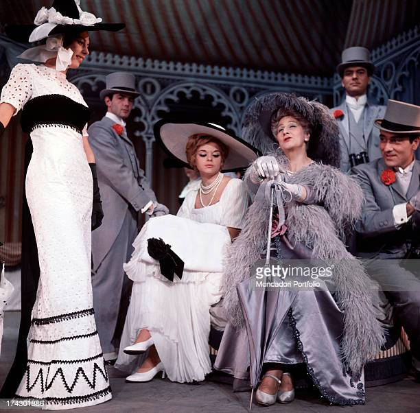 Tina Lattanzi sitting with high society people the comedy is My Fair Lady presented in the Italian version by Suso Cecchi D'Amico Milan Novembre 1963