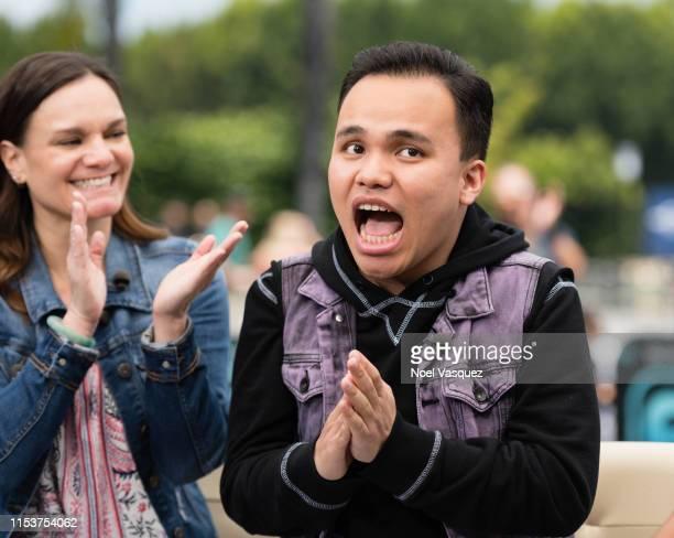 "Tina Lee and Kodi Lee visit ""Extra"" at Universal Studios Hollywood on June 04, 2019 in Universal City, California."
