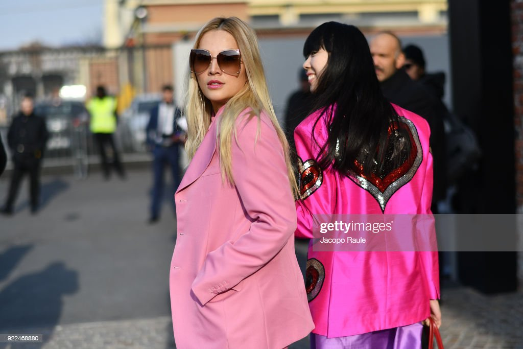 Tina Leung and Susie Bubble are seen leaving the Gucci show during Milan Fashion Week Fall/Winter 2018/19 on February 21, 2018 in Milan, Italy.