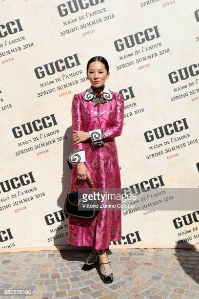 Tina Leung arrives at the Gucci show during Milan Fashion Week Spring/Summer 2018 on September 20 2017 in Milan Italy