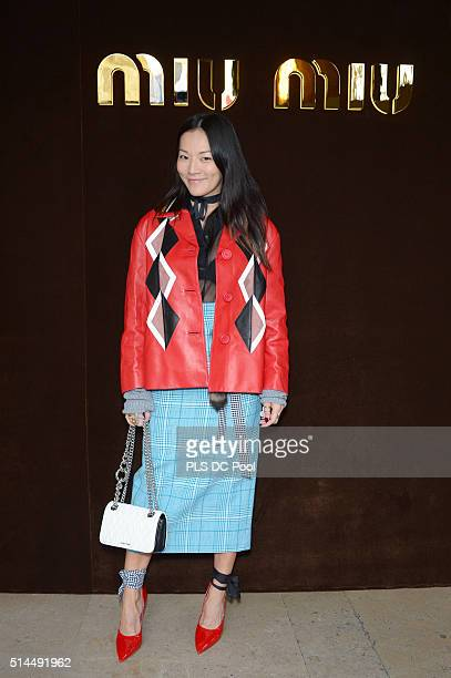 Tina Leung attends the Miu Miu show as part of the Paris Fashion Week Womenswear Fall / Winter 2016 on March 9 2016 in Paris France