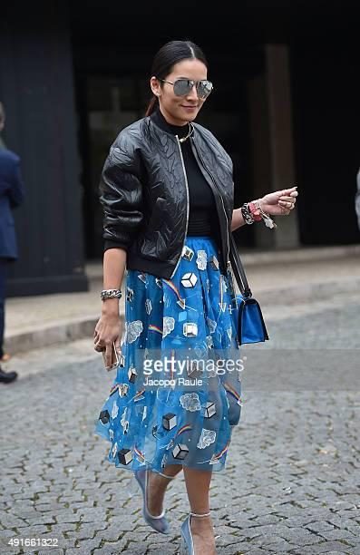 Tina Leung depart the Miu Miu Fashion Show during the Paris Fashion Week S/S 2016 Day Nine on October 7 2015 in Paris France