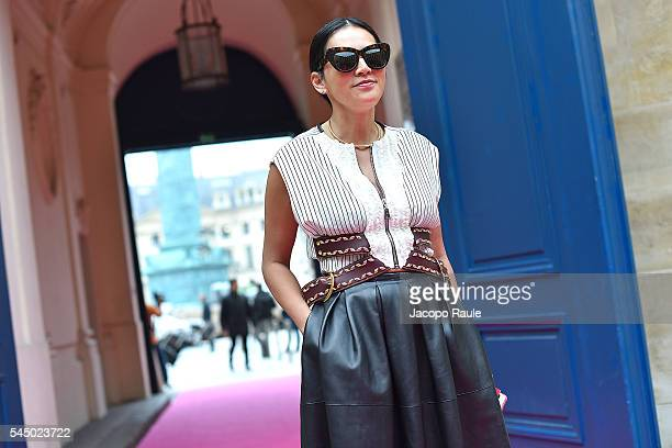 Tina Leung is seen arriving at Schiaparelli Fashion show during Paris Fashion Week Haute Couture F/W 20162017 on July 4 2016 in Paris France