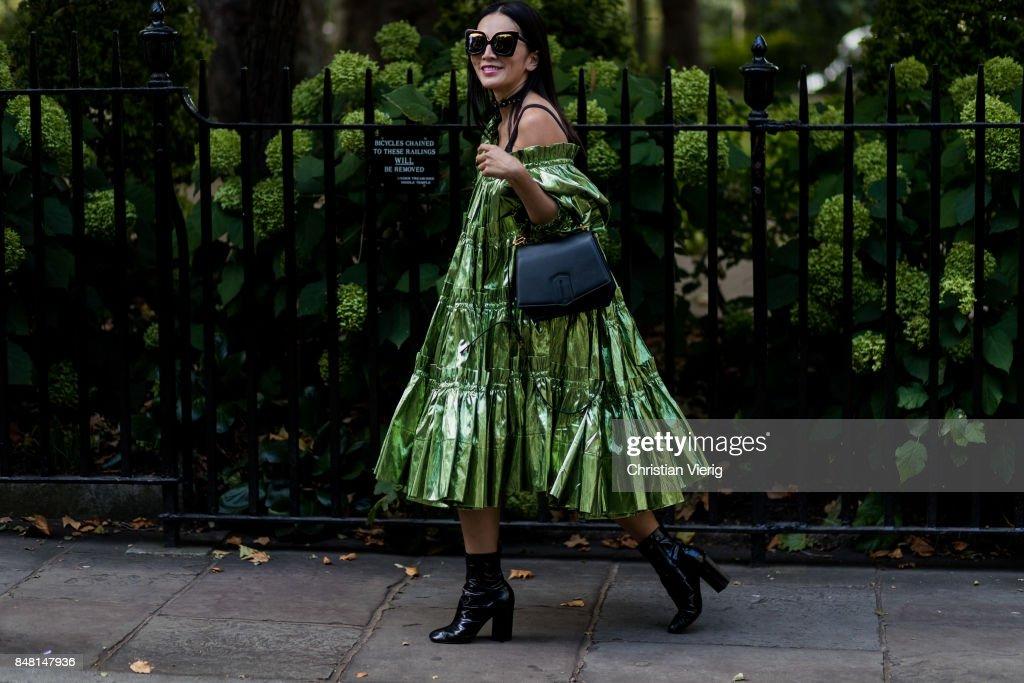 Tina Leung outside Simone Rocha during London Fashion Week September 2017 on September 16, 2017 in London, England.
