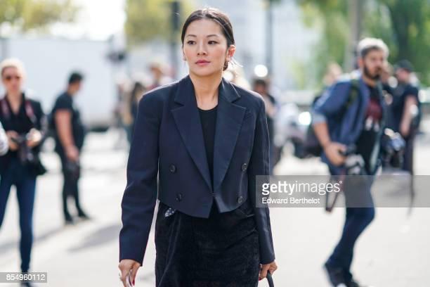Tina Leung outside the Dries Van Noten show during Paris Fashion Week Womenswear Spring/Summer 2018 on September 27 2017 in Paris France