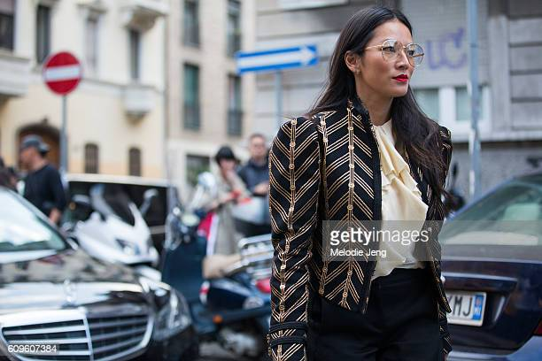 Tina Leung wears Gucci outside the N21 show during Milan Fashion Week Spring/Summer 2017 on September 21 2016 in Milan Italy