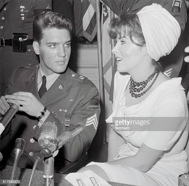 Tina Louise, actress and future star of Gilligan's Island, interviews Elvis Presley upon his return from his 1959-60 Army tour of duty in Germany.