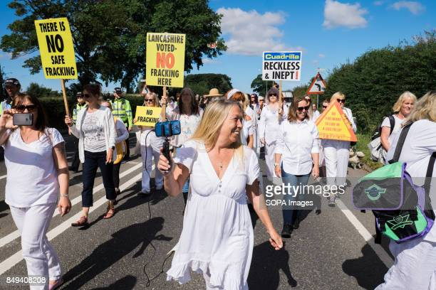 Tina Louise Rothery and the Nanas against fracking are holding a silent protest at the gates of the Preston New Road fracking site Their protest was...