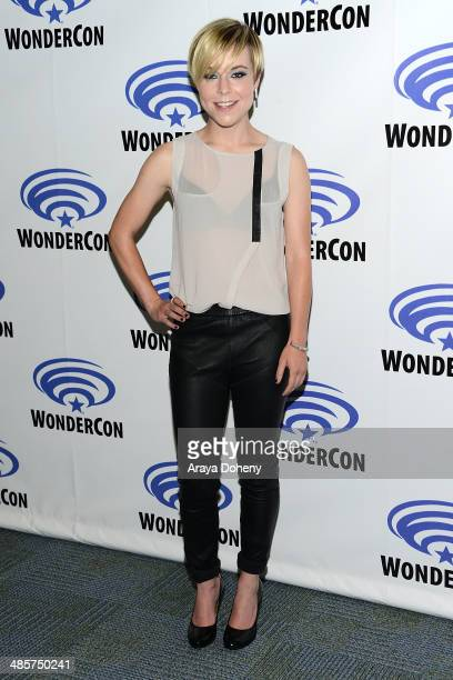 Tina Majorino attends the Legends paress line at WonderCon Anaheim 2014 Day 2 at Anaheim Convention Center on April 19 2014 in Anaheim California