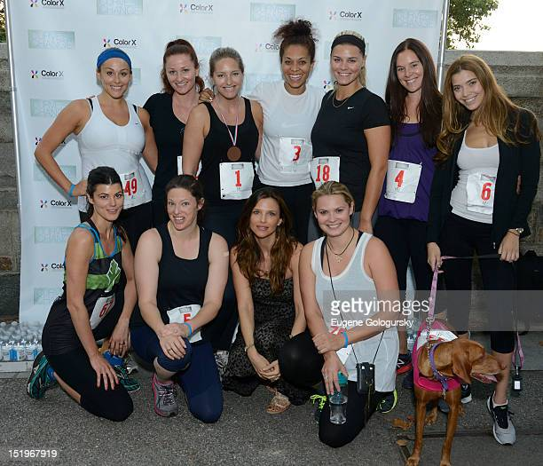Tina Marie Clark and run participants attend the 2012 Curves For Change 5k Run/Walk Race at 103rd Street and Riverside Drive on September 13 2012 in...