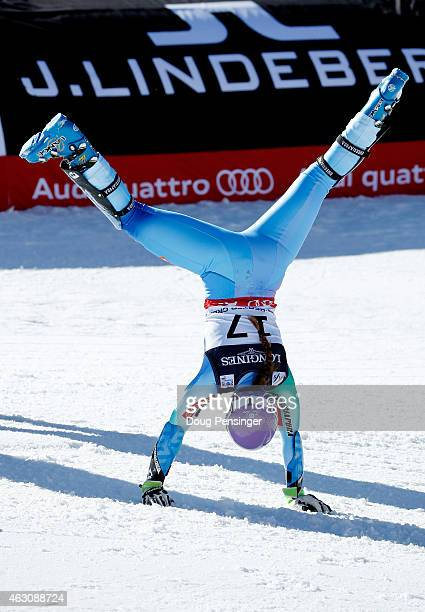 Tina Maze of Slovenia celebrates after crossing the finish of the Ladies' Alpine Combined Slalom run in Red Tail Stadium on Day 8 of the 2015 FIS...