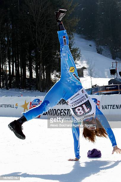 Tina Maze of Slovenia celebrates after taking 1st place during the Audi FIS Alpine Ski World Cup Women's Downhill on March 02 2013 in...