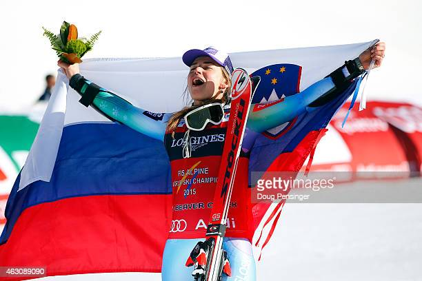 Tina Maze of Slovenia celebrates after winning the Ladies' Alpine Combined Slalom run in Red Tail Stadium on Day 8 of the 2015 FIS Alpine World Ski...