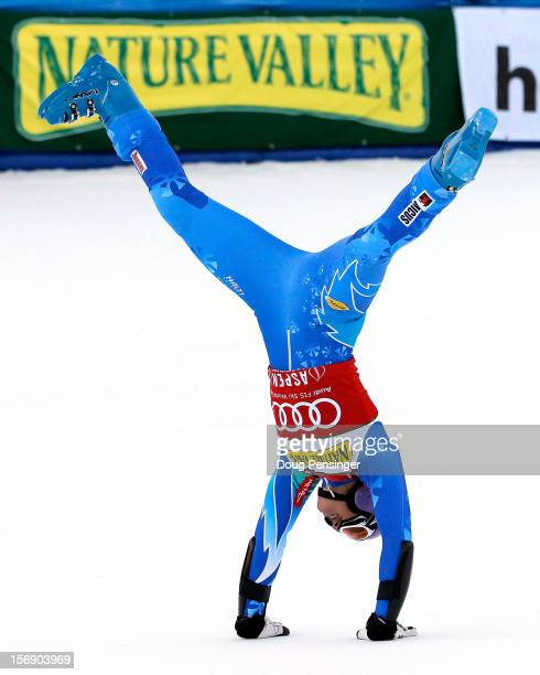 Tina Maze of Slovenia celebrates as she wins the women's giant slalom at the Nature Valley Aspen Winternational Audi FIS Ski World Cup at Aspen...