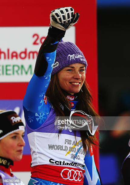Tina Maze of Slovenia celebrates at the flower ceremony after winning the Women's Super G event during the Alpine FIS Ski World Championships on...