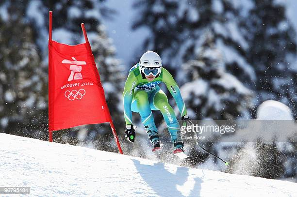 Tina Maze of Slovenia competes during the Alpine Skiing Ladies Downhill on day 6 of the Vancouver 2010 Winter Olympics at Whistler Creekside on...