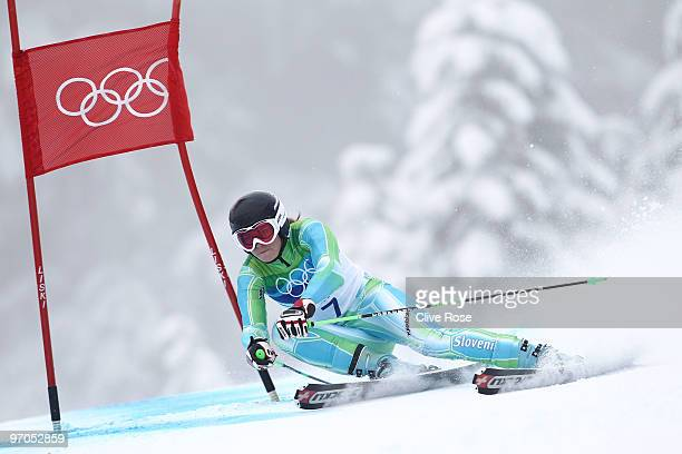 Tina Maze of Slovenia competes during the Ladies Giant Slalom second run on day 14 of the Vancouver 2010 Winter Olympics at Whistler Creekside on...