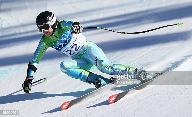 Tina Maze of Slovenia competes in the women's alpine skiing SuperG on day nine of the Vancouver 2010 Winter Olympics at Whistler Creekside on...