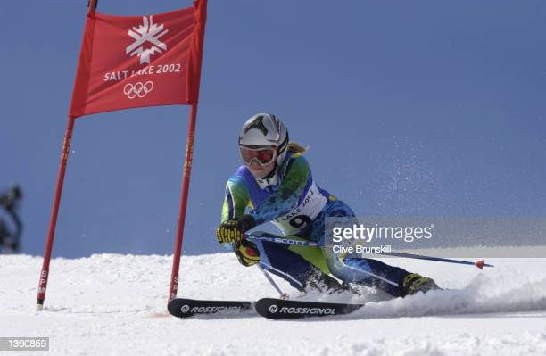 Tina Maze of Slovenia competes in the women's giant slalom during the Salt Lake City Winter Olympic Games at Park City Mountain Resort on February 22...