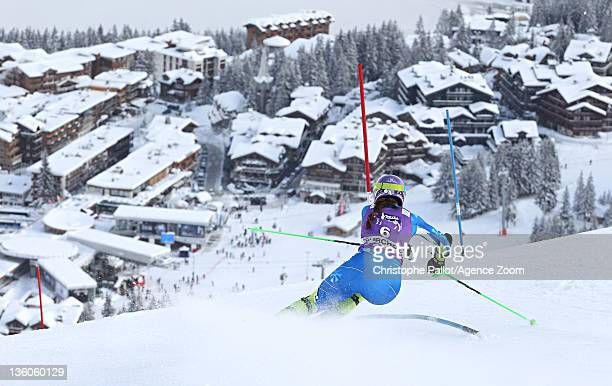 Tina Maze of Slovenia during the Audi FIS Alpine Ski World Cup Women's Slalom on December 18 2011 in Courchevel France