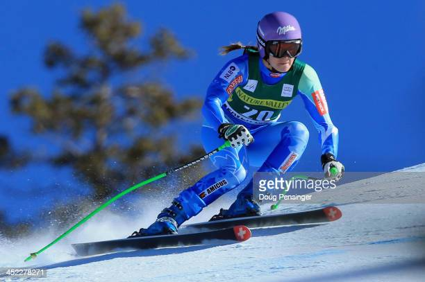 Tina Maze of Slovenia in action during ladies' downhill training on Raptor for the Audi FIS Alpine World Cup on November 27 2013 in Beaver Creek...