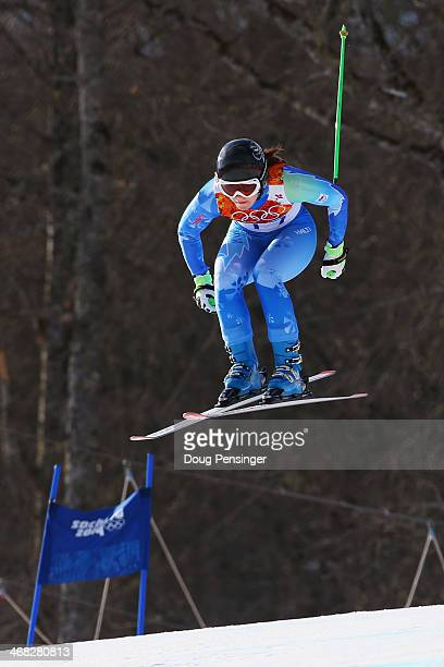 Tina Maze of Slovenia in action during the Alpine Skiing Women's Super Combined Downhill on day 3 of the Sochi 2014 Winter Olympics at Rosa Khutor...
