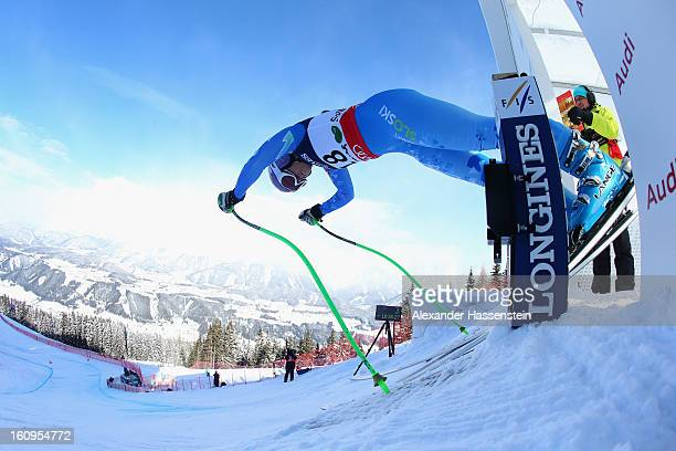 Tina Maze of Slovenia leaves the start gate to ski in the Downhill section of the Women's Super Combined during the Alpine FIS Ski World...