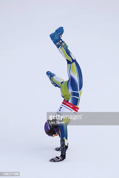 Tina Maze of Slovenia performs a cartwheel in the finish area after winning the Women's Giant Slalom during the Alpine FIS Ski World Championships on...