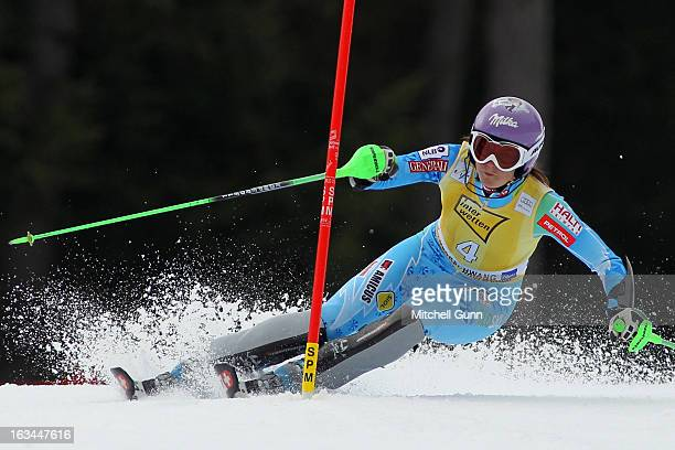 Tina Maze of Slovenia races down the course whilst competing in the Audi FIS Alpine Ski World Cup Women's Slalom on March 10 2013 in Ofterschwang...