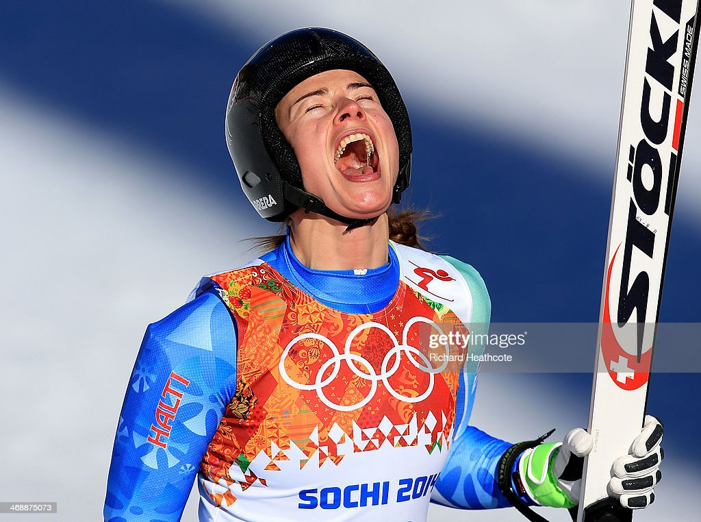 Tina Maze of Slovenia reacts after a run during the Alpine Skiing Women's Downhill on day 5 of the Sochi 2014 Winter Olympics at Rosa Khutor Alpine Center on February 12, 2014 in Sochi, Russia.