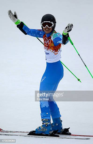 Tina Maze of Slovenia reacts after a run during the Alpine Skiing Women's Giant Slalom on day 11 of the Sochi 2014 Winter Olympics at Rosa Khutor...