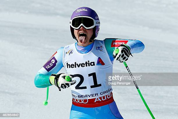 Tina Maze of Slovenia reacts after crossing the finish of the Ladies' Downhill in Red Tail Stadium on Day 5 of the 2015 FIS Alpine World Ski...