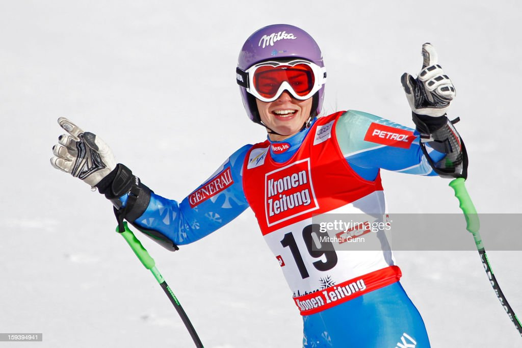 Tina Maze of Slovenia reacts in the finish area after competing in the Audi FIS Alpine Ski World Cup Super Giant Slalom (SuperG) race on January 13, 2013 in St Anton, Austria.