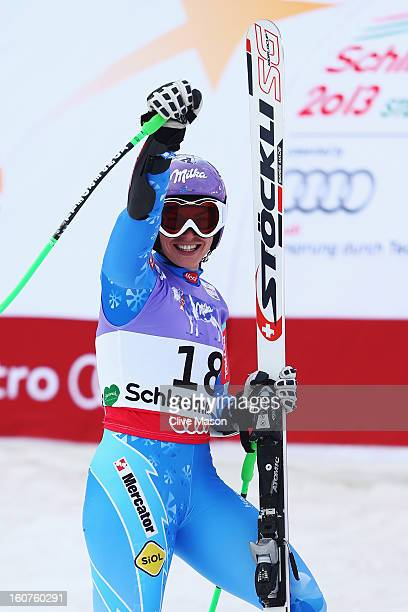Tina Maze of Slovenia reacts in the finish area after competing in the Women's Super G event during the Alpine FIS Ski World Championships on...