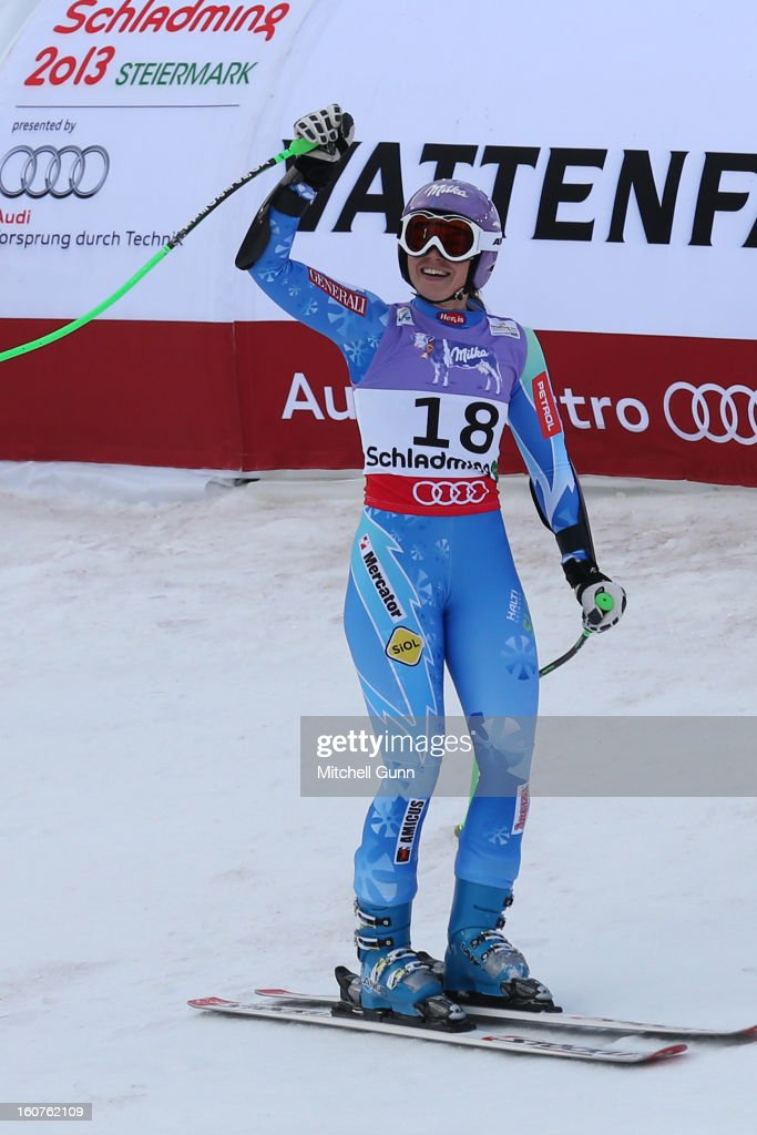 Tina Maze of Slovenia reacts in the finish area after competing in the Alpine FIS Ski World Championships super giant slalom (SuperG) race on February 05, 2013 in Schladming, Austria,