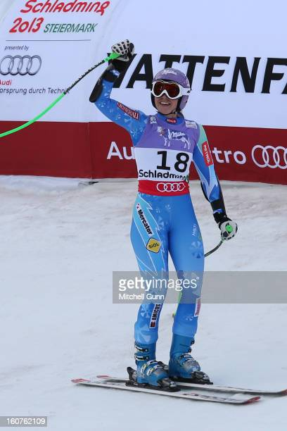 Tina Maze of Slovenia reacts in the finish area after competing in the Alpine FIS Ski World Championships super giant slalom race on February 05 2013...