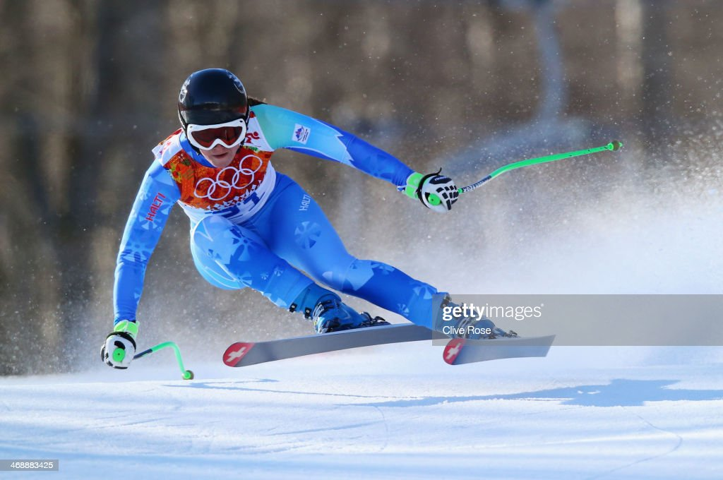 Tina Maze of Slovenia skis during the Alpine Skiing Women's Downhill on day 5 of the Sochi 2014 Winter Olympics at Rosa Khutor Alpine Center on February 12, 2014 in Sochi, Russia.