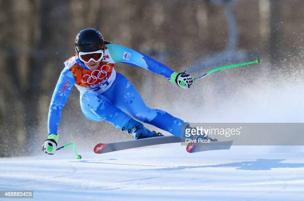 Tina Maze of Slovenia skis during the Alpine Skiing Women's Downhill on day 5 of the Sochi 2014 Winter Olympics at Rosa Khutor Alpine Center on...